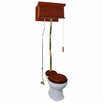 Mahogany High Tank Pull Chain Toilet With White Toilet Bowl And Flat Z-Pipe21139grid