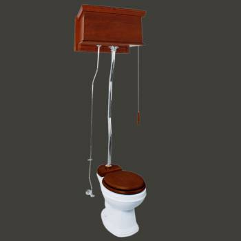 Mahogany Flat High Tank Pull Chain Water Closet With White Toilet Bowl And ZPipe High Tank Pull Chain Toilets High Tank Toilet with Round Bowl Pull Chain Toilets