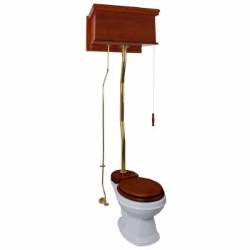 Mahogany High Tank Pull Chain Toilet with White Elongated Bowl Brass Top Entry High Tank Pull Chain Toilets High Tank Toilet with Elongated Bowl Old Fashioned Toilet