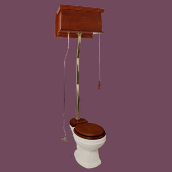 <PRE>Mahogany Flat High Tank Pull Chain Toilet With Bone Round Bowl And Z-Pipe</PRE>