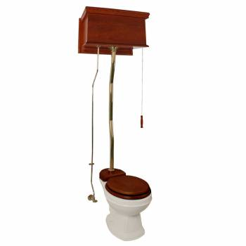 Mahogany Flat High Tank Pull Chain Toilet With Bone Round Bowl And Z-Pipe21210grid