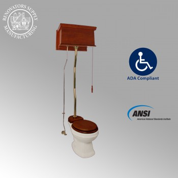 <PRE>Mahogany Flat High Tank Pull Chain Water Closet With Elongated Toilet Bowl</PRE>zoom2