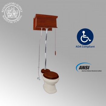 <PRE>Mahogany High Tank Pull Chain Water Closet Elongated Bowl Flat High Tank Toilet</PRE>