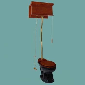 <PRE>Mahogany Flat High Tank Pull Chain Toilet With Black Round Toilet Bowl Z-Pipe</PRE>zoom2