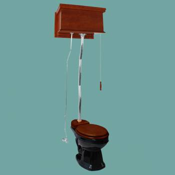 <PRE>Mahogany Flat High Tank Pull Chain Water Closet With Black Bowl And Flat Z-pipe</PRE>zoom2