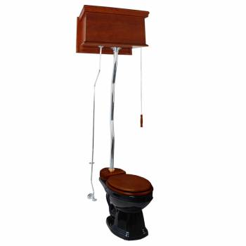 Mahogany Flat High Tank Pull Chain Water Closet With Black Bowl And Flat Z-pipe21219grid