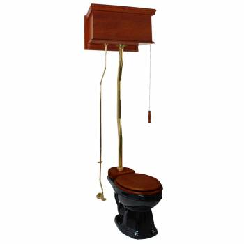 <PRE>Mahogany High Tank Pull Chain Water Closet With Black Elongated Toilet Bowl</PRE>