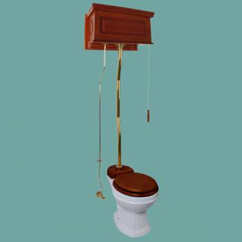 spec-<PRE>Mahogany High Tank Pull Chain Water Closet With White Round Bowl And Z-Pipe</PRE>