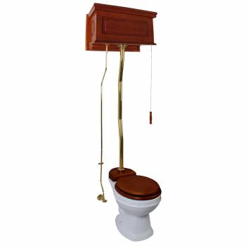 Mahogany High Tank Pull Chain Water Closet With White Round Bowl And Z-Pipe21268grid