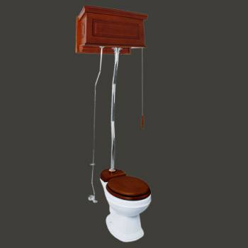 <PRE>Mahogany High Tank Pull Chain Toilet With White Round Toilet Bowl And Z-pipe</PRE>