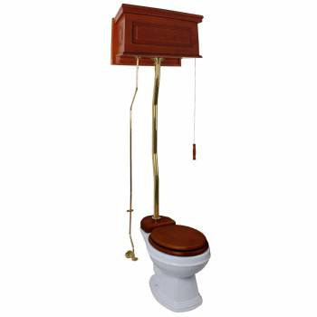 High Tank Pull Chain Z-pipe Toilet Elongated White Bowl Brass Mahogany Tank 21272grid