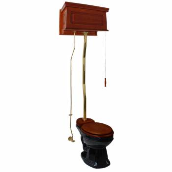 Mahogany High Tank Pull Chain Water Closet With Black Round Toilet Bowl Z-Pipe21378grid