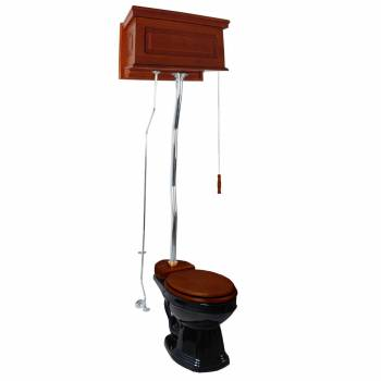 <PRE>Mahogany High Tank Pull Chain Toilet With Black Round Toilet Bowl And Z-pipe</PRE>