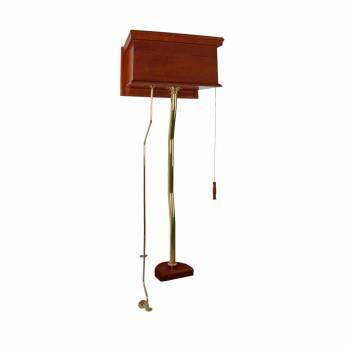 Mahogany High Tank Pull Chain Toilet with Brass Top Entry Conversion Kit