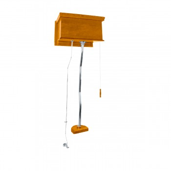 Mahogany High Tank Pull Chain Toilet with Chrome Top Entry Conversion Kit