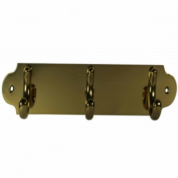 Triple Hook Solid Bright Brass Plate 21502grid