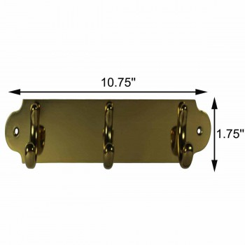 spec-<PRE>Triple Hook Solid Bright Brass Plate </PRE>