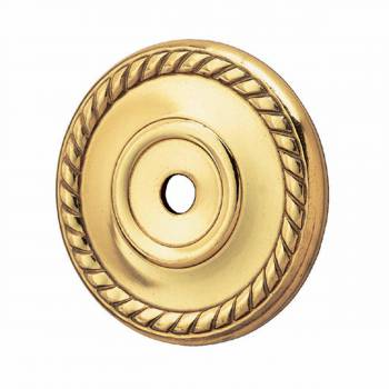 Cabinet Knob Rosette Bright Solid Brass Roped 1 1/4