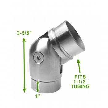 spec-<PRE>135 Degree 1.5&quot; Elbow Rail Fitting Connector Stainless</PRE>