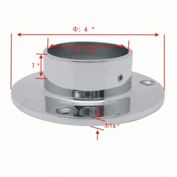 spec-<PRE>4&quot; Wall Flange 1.5&quot; OD Bar Foot Rail Tubing Holder Stainless </PRE>