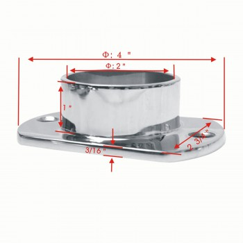 "spec-<PRE>Cut Wall Flange 2"" OD Bar Foot Rail Tubing Holder Stainless </PRE>"