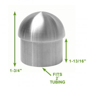 "spec-<PRE>Handicap Rail Or Boat Bar 2"" Domed End Cap Stainless Steel </PRE>"