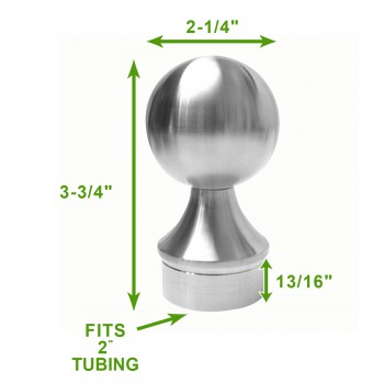 "spec-<PRE>2"" Ball End Cap Handicap Bar Foot Rail Stainless Steel</PRE>"