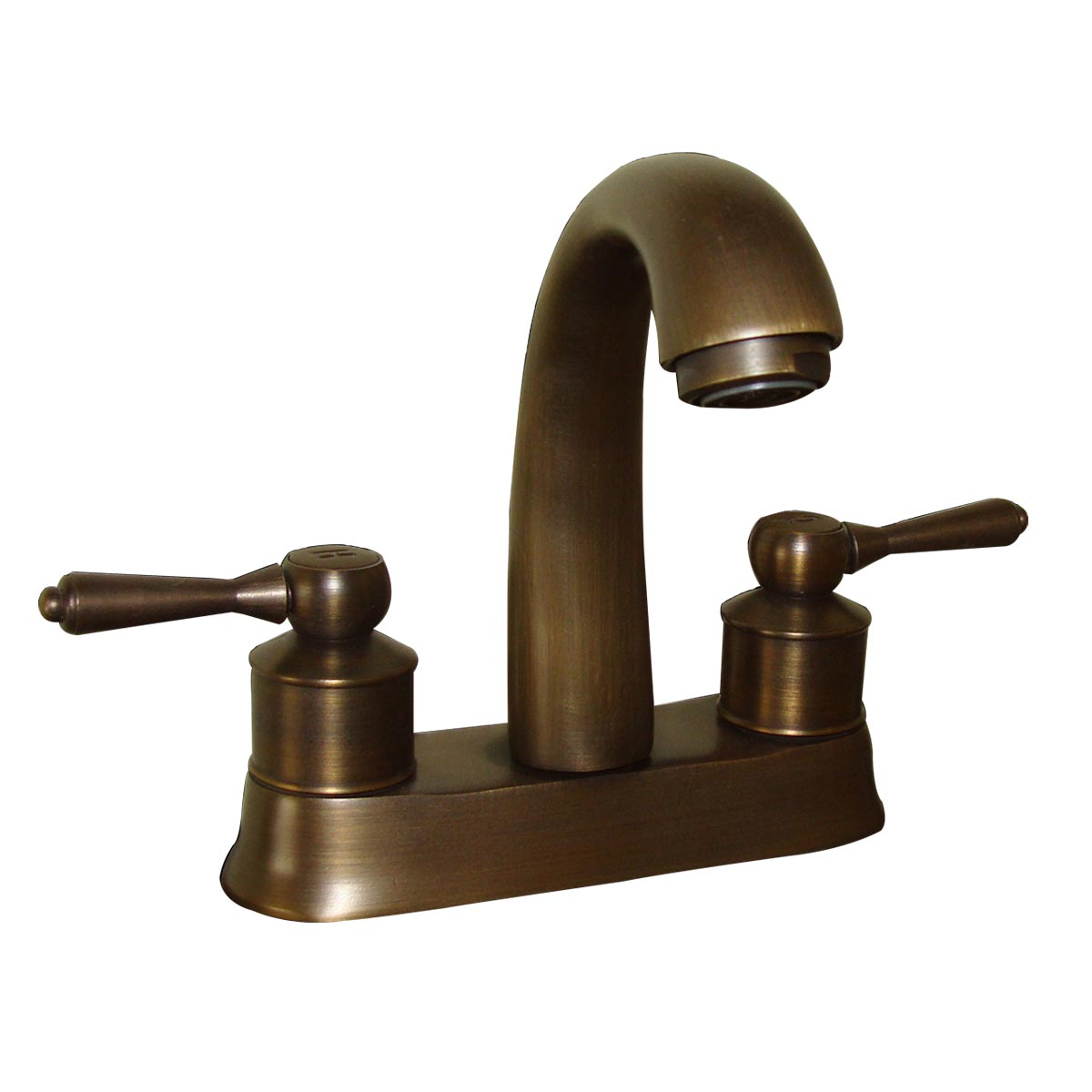 Classic Antique Brass Bathroom Sink Centerset Faucet With Lever - Brushed brass bathroom faucets
