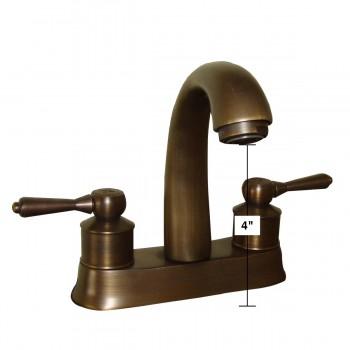 spec-<PRE>Faucet Antique Brass Classic Bathroom Sink Centerset 2 Lever </PRE>