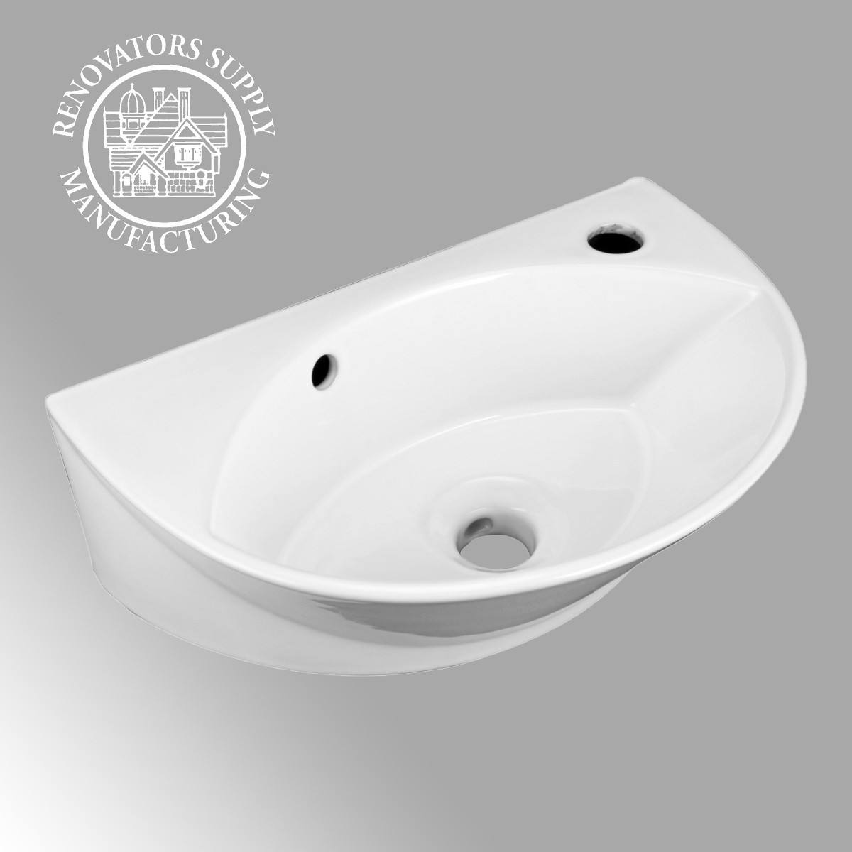Small White Wall Mount Bathroom Vessel Sink With Single Faucet Hole Overflow