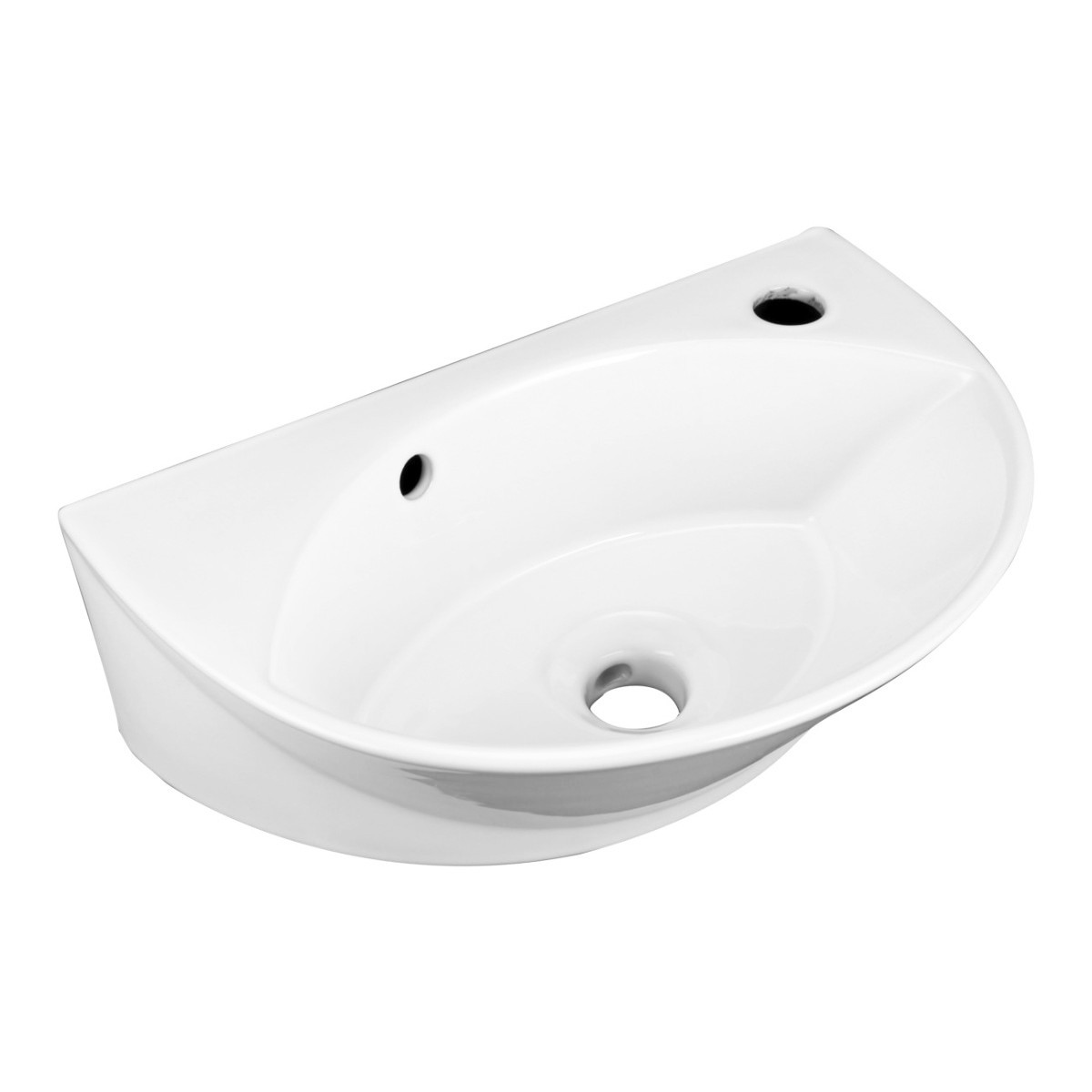 Small white wall mount bathroom vessel sink with single faucet hole overflow for Compact sinks for small bathrooms
