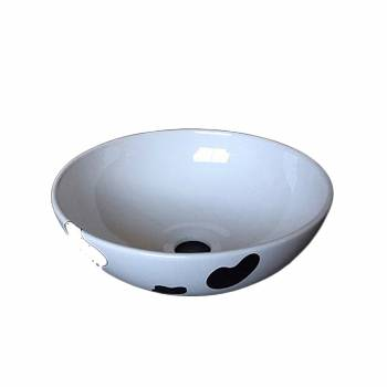 Bathroom Vessel Sink Black and White China Cow 21672grid