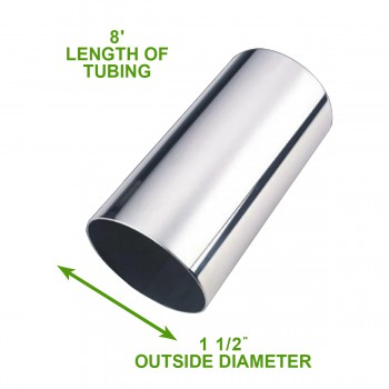 spec-<PRE>Handicap Or Boat Rail 1.5&quot; Silver Stainless Steel 8' Tubing </PRE>