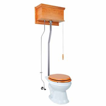 Light Oak Flat High Tank Pull Chain Toilet with White Round Bowl & Satin L-Pipe21714grid