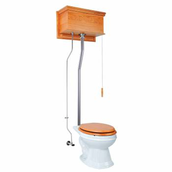 Light Oak Flat High Tank Pull Chain Toilet with Elongated Bowl and Satin L-Pipe21715grid