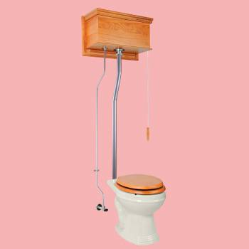 Light Oak Flat High Tank Pull Chain Toilet with Biscuit Round Bowl and Satin LPipe High Tank Pull Chain Toilets Round Bowl High Tank Toilet Old Fashioned Toilet