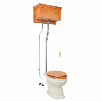 Light Oak Flat High Tank Pull Chain Toilet with Bone Round Bowl and Satin L-Pipe21716grid