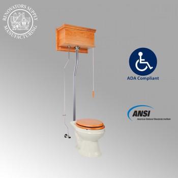 <PRE>Light Oak High Tank Pull Chain Toilet L-Pipe Elongated Bowl </PRE>zoom2