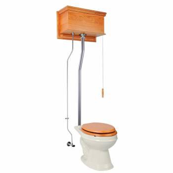 Light Oak High Tank Pull Chain Toilet Satin L-Pipe Elongated Bowl21717grid