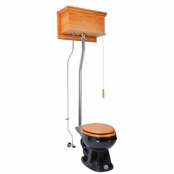 Light Oak Flat High Tank Pull Chain Toilet with Black Round Bowl & Satin L-Pipe21718grid