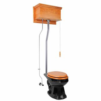 Light Oak Flat High Tank Pull Chain Toilet with Elongated Bowl and Satin L-Pipe21719grid
