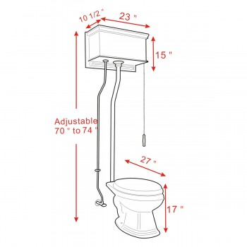 spec-<PRE>Light Oak Flat High Tank Pull Chain Toilet with Elongated Bowl and Satin L-Pipe</PRE>