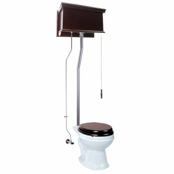 Dark Oak Flat High Tank Pull Chain Toilet with White Round Bowl and Satin L-Pipe21720grid