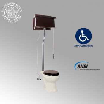 Dark Oak High Tank Pull Chain Toilet with Elongated Bowl and Satin LPipe High Tank Pull Chain Toilets Elongated Bowl High Tank Toilet Old Fashioned Toilet