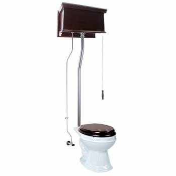 Dark Oak High Tank Pull Chain Toilet with Elongated Bowl and Satin L-Pipe21721grid