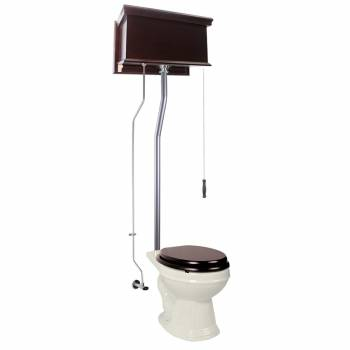 Dark Oak Flat High Tank Pull Chain Toilet with Bone Round Bowl and Satin L-Pipe21722grid