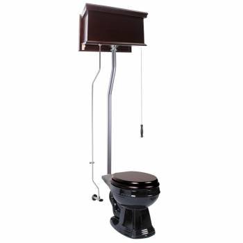 Dark Oak Flat High Tank Pull Chain Toilet with Black Round Bowl and Satin L-Pipe21724grid
