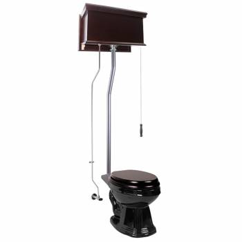 Dark Oak Flat High Tank Pull Chain Toilet with Elongated Bowl and Satin LPipe Satin High Tank Pull Chain Toilets High Tank Toilet with Elongated Bowl Old Fashioned Toilet