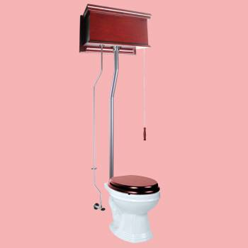 <PRE>Cherry Wood Flat Panel High Tank Pull Chain Toilet White Round Satin Rear Entry</PRE>zoom2