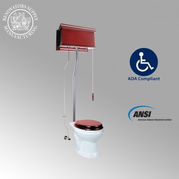 spec-<PRE>Cherry Wood Flat High Tank Pull Chain Toilet White Elongated Satin Rear Entry</PRE>